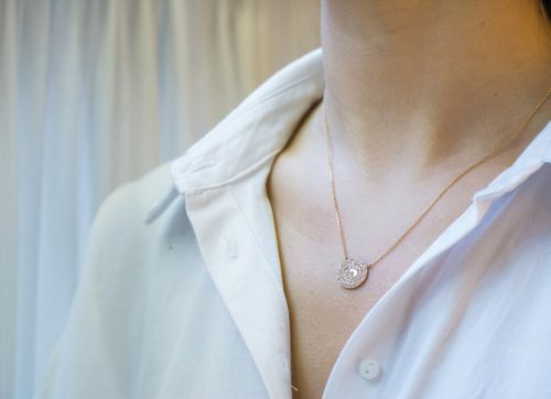 rose gold kate infinity medaillon 51 diamonds necklace