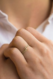 celine daoust yellow gold diamond pave snake ring