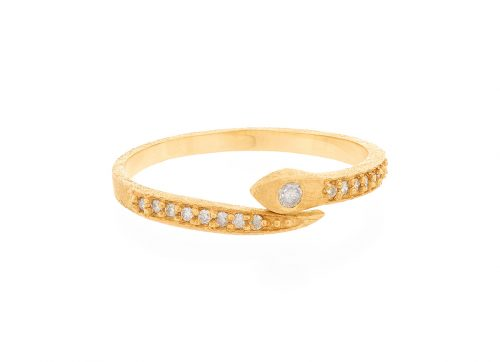 celine daoust gold diamond pave snake ring