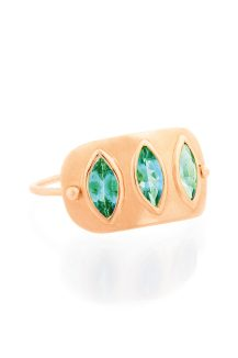 rose gold emerald marquises plate ring celine daoust