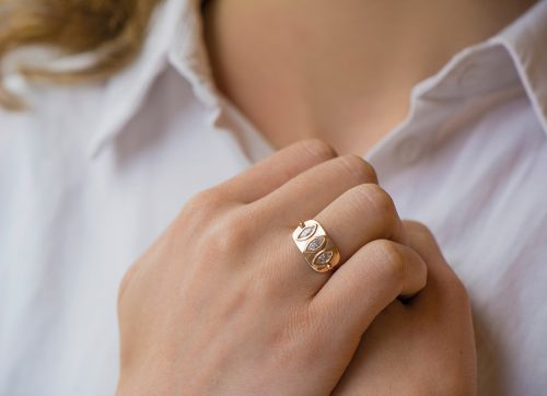 yellow gold three diamond marquises plate ring celine daoust