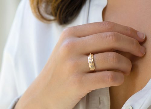 celine daoust rose gold rose cut diamond plate ring