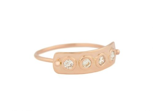 celine daoust rose gold 4 rose cut diamond plate ring