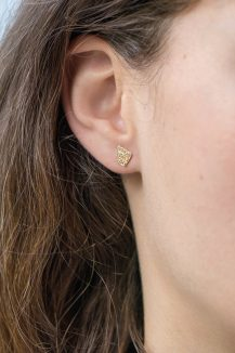 yellow gold geometrics art deco diamonds earrings studs set celine daoust