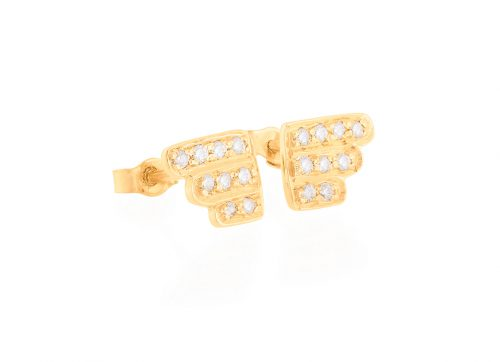 yellow gold geometrics art deco diamonds earrings studs set celine daoust