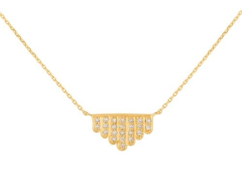 yellow gold geometrics art deco diamonds necklace celine daoust