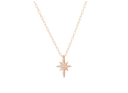 celine daoust rose gold white diamond north star chain necklace