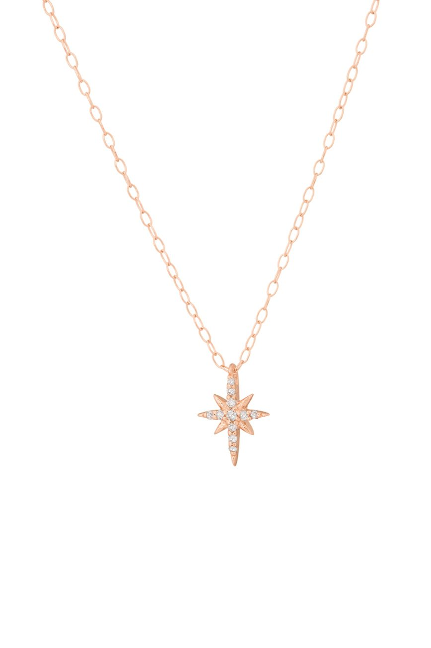 celine daoust rose gold stars and universe north star diamond necklace