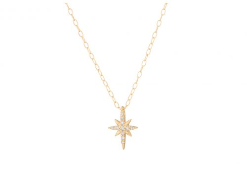 celine daoust yellow gold diamond stars and universe north star necklace