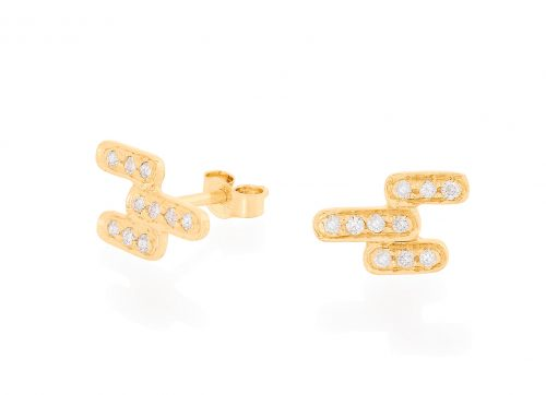 yellow gold art deco diamonds studs earrings celine daoust