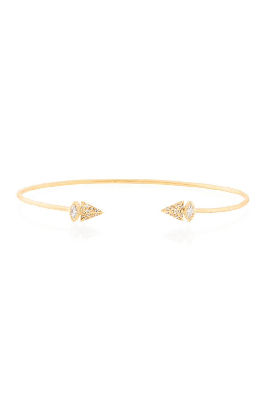 yellow gold marquise diamonds and pyramid bangle celine daoust