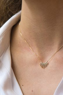 celine daoust yellow gold rising sun necklace