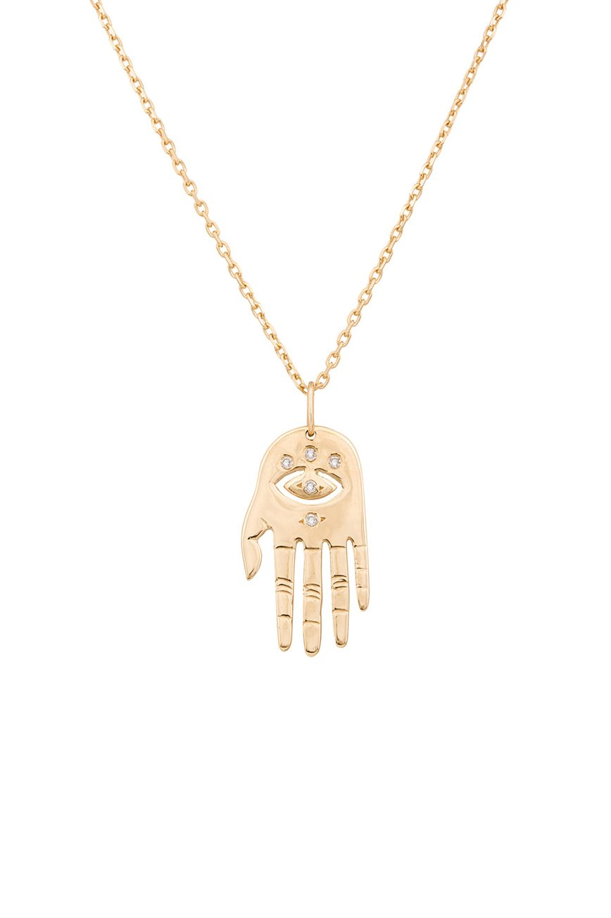 celine daoust protection believes small dharma's hand pendant