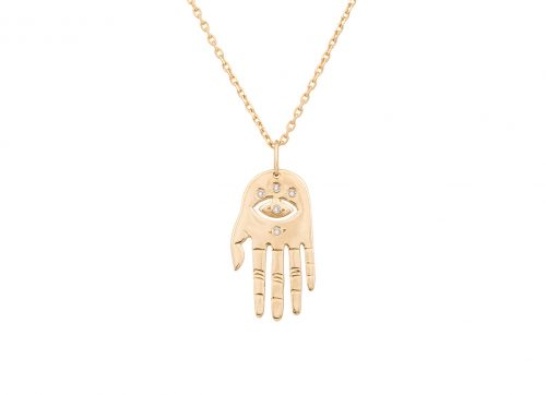 celine daoust protection believes small dharma's hand necklace