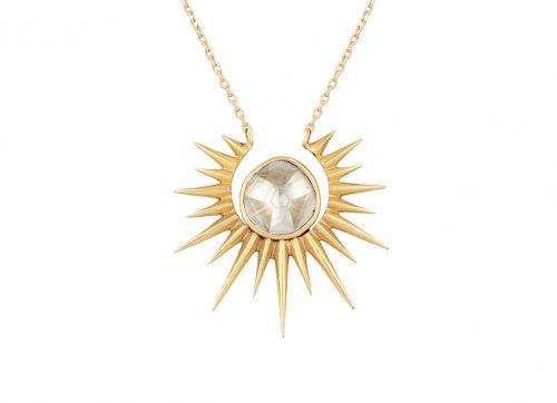 Celine Daoust 14kt Gold Stars and Universe Full Sunshine Polki Diamond Necklace