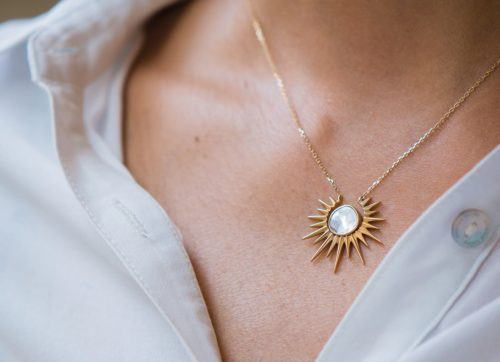 celine daoust 14kt gold stars and universe full sunshine polka diamond necklace