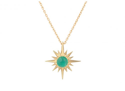yellow gold stars and universe star and emerald chain necklace celine daoust
