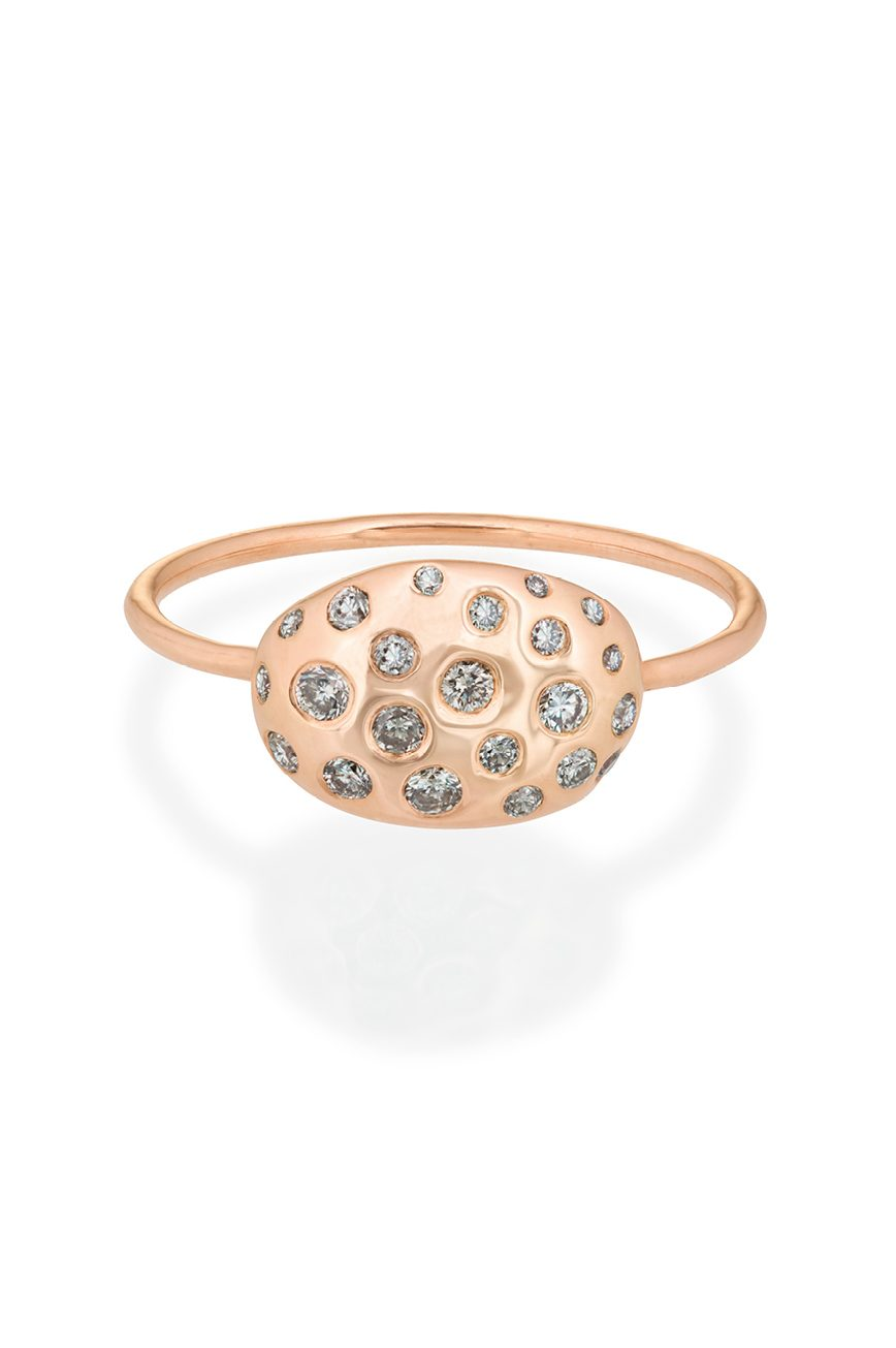 rose gold from the earth shell multi diamonds ring