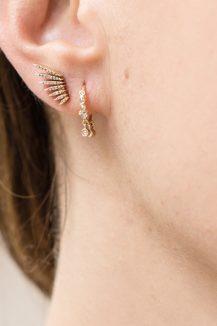 celine daoust yellow gold diamond flying wing stud earring