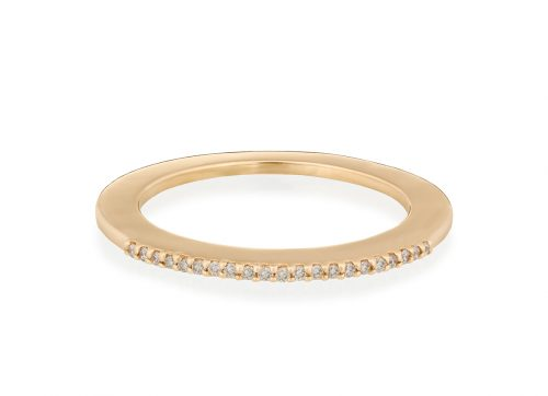 yellow gold rainbow disc and diamonds ring
