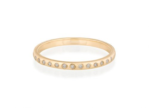 yellow gold rainbow diamonds flush setting ring celine daoust