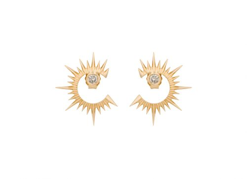 celine daoust stars and universe sun and moon mix and match diamond stud earrings