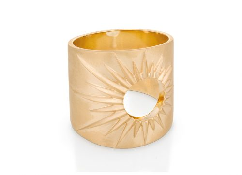 celine daoust yellow gold stars and universe full sun ring