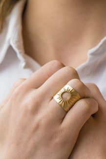 celine daoust 14kt yellow gold stars and universe full sun ring