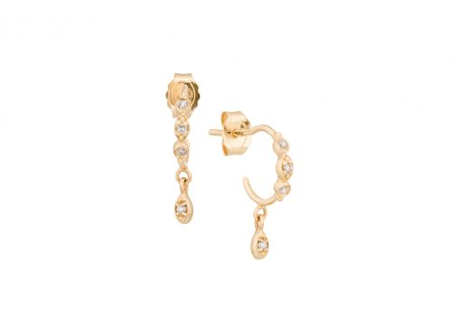 yellow gold protection and believes diamond eyes hoop set earring celine daoust