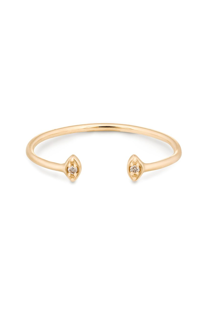 celine daoust protection believes tiny diamond eyes open ring