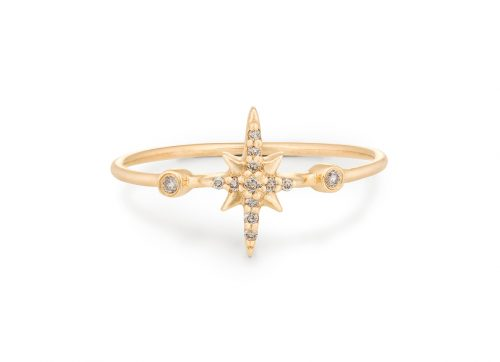 yellow gold white diamonds north star ring celine daoust