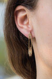 celne daoust gold aztec diamond v earrings