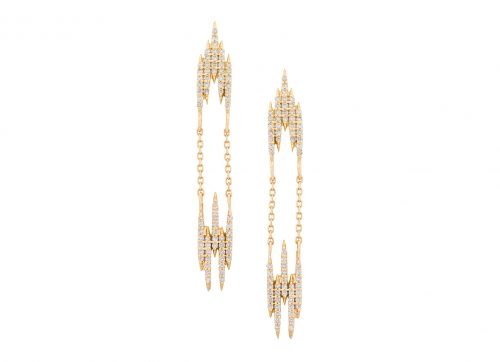 celine daoust gold aztec diamond v earrings