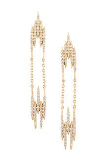 celine daoust gold aztec V Earrings