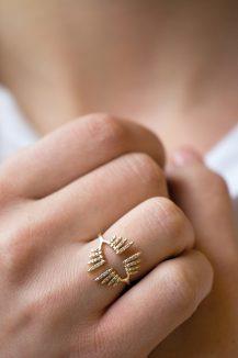 yellow gold rainbow diamonds sunbeamps open ring