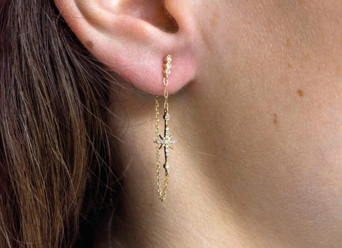 celine daoust gold diamond stars and universe north star chain earring