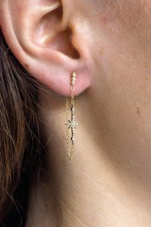 celine daoust yellow gold diamond stars and universe north start chain earring