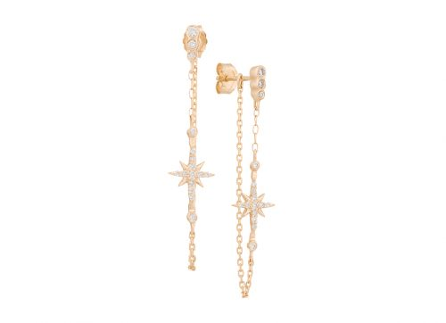 celine daoust yellow gold diamond stars and universe north star chain earring