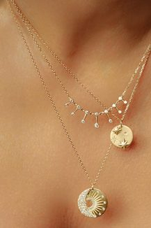 celine daoust yellow gold white diamond necklaces layered