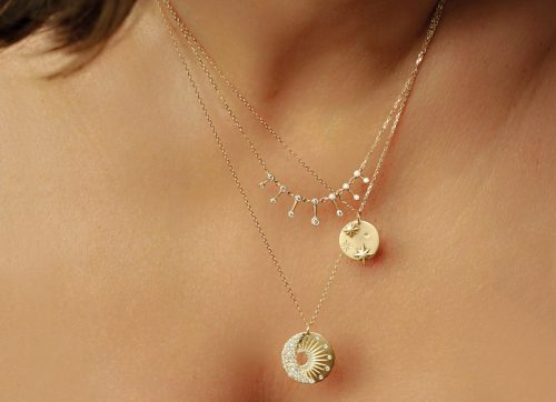 Celine Daoust Yellow Gold and Diamond Sun and Moon Medal Pendant Necklace