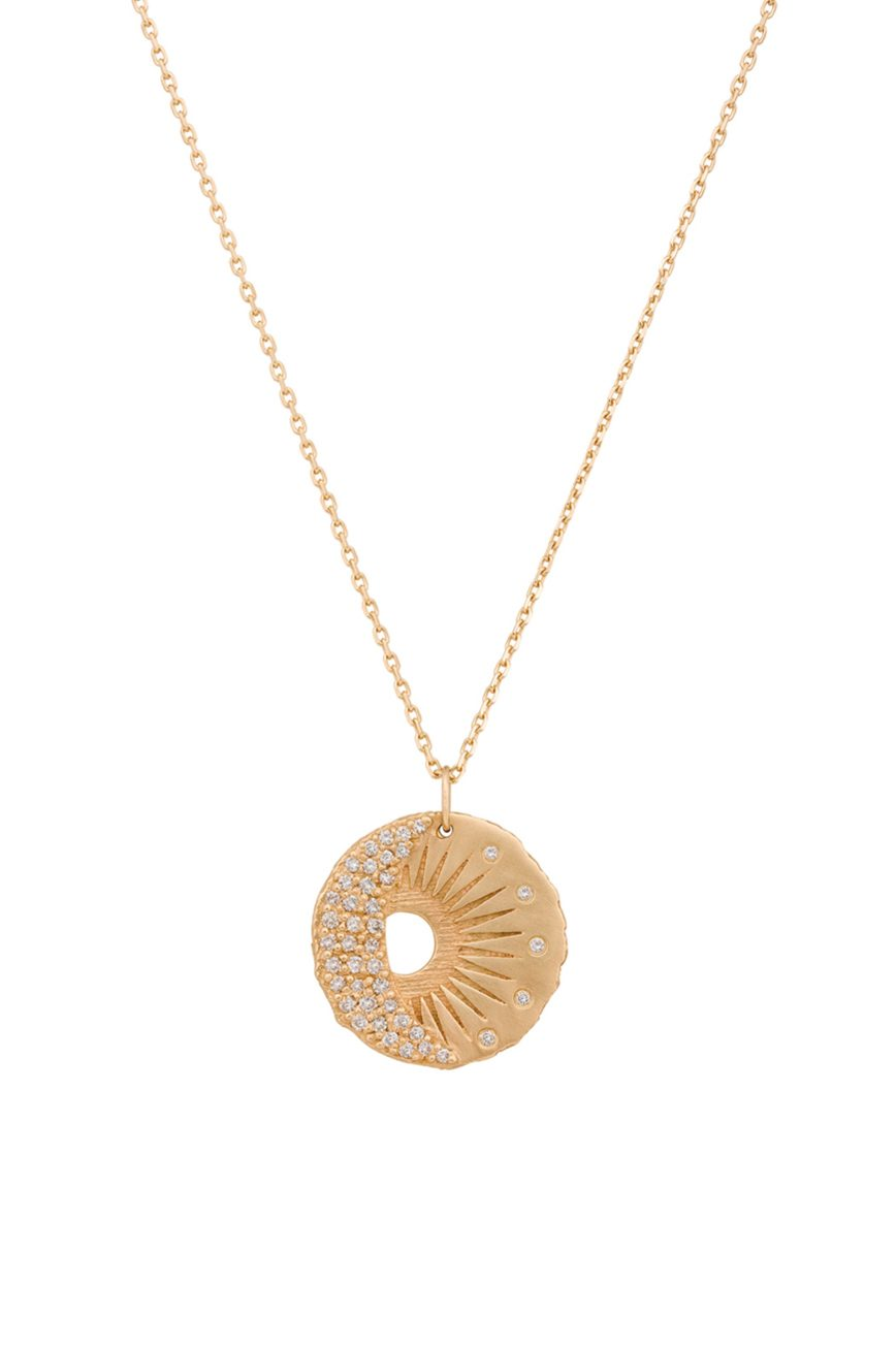 yellow gold white diamond sun moon pendant necklace celine daoust