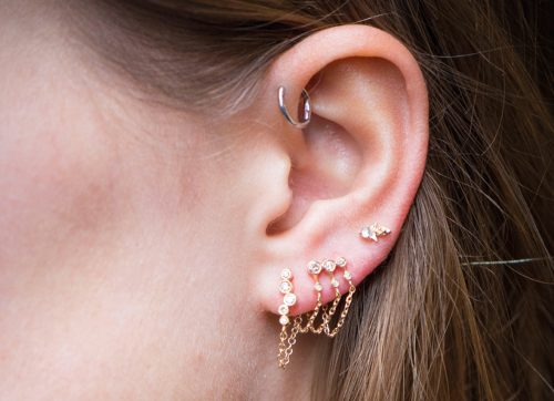 mix and match gold triple chain chain earring