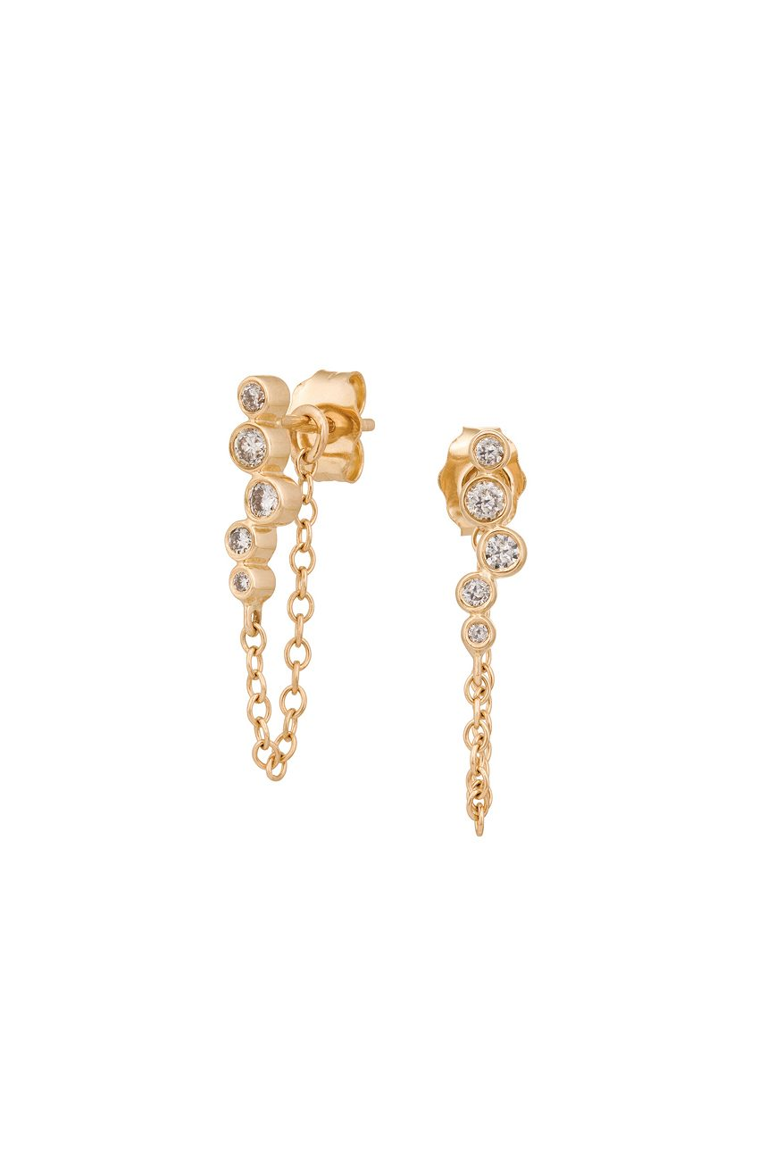 celine daoust gold diamond constellation tube diamond chain earring