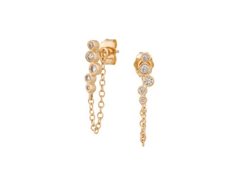 celine daoust constellation twisted tube diamond short chain earring