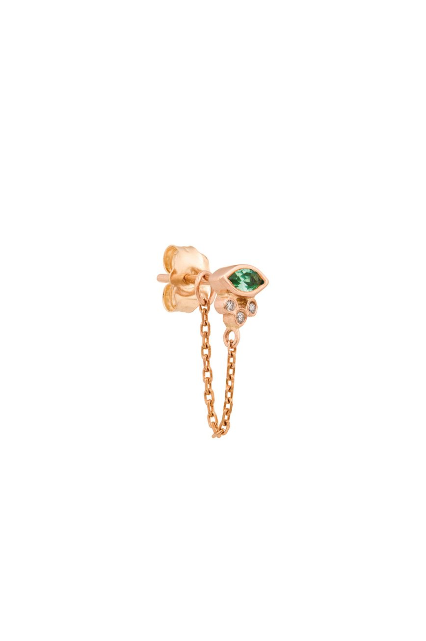 rose gold emerald marquise and tubes diamonds single chain earring celine daoust