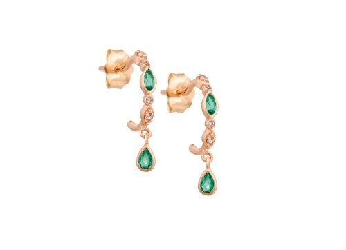 celine daoust protection and believe emeralds and diamonds eyes hoop set earrings