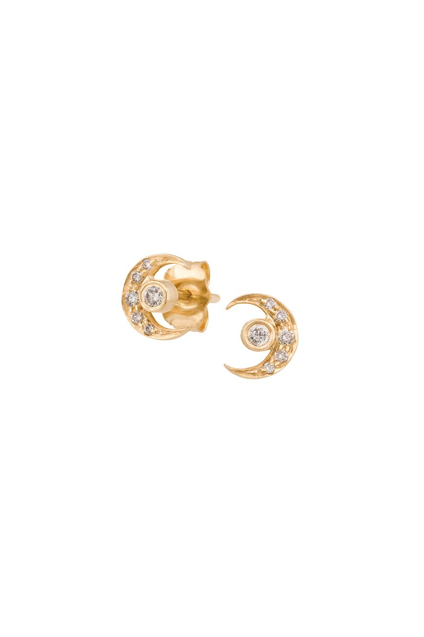 242418028b75cd ... celine daoust small 14kt gold diamond moon and earth stud earrings ...