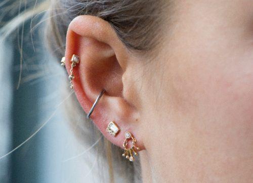 celine daoust gold diamond constellation baby diamond sun crown earring