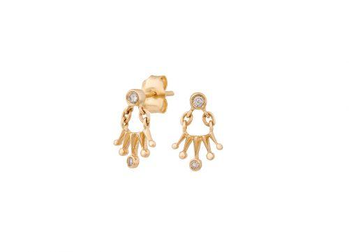 celine daoust constellation baby diamonds sun crown earrings