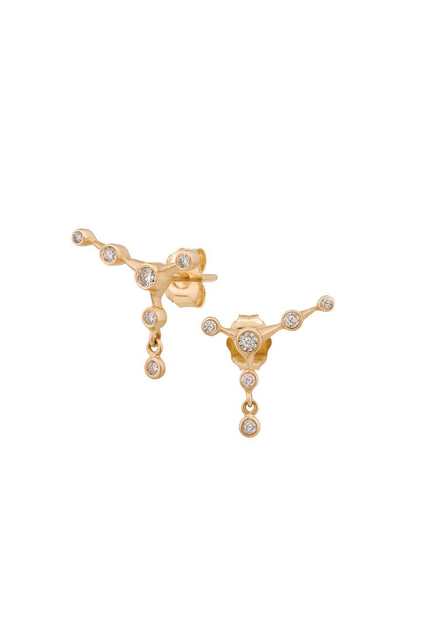 celine daoust gold white diamond 6 diamond constellation stud earring